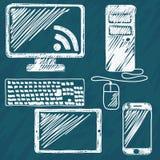 Mano de los dispositivos de Digitaces dibujada Fotografía de archivo libre de regalías