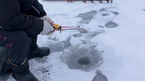Mano de los pescados de las capturas del pescador en la caña de pescar del invierno en el río congelado con el agujero almacen de video