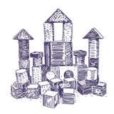 Mano de madera del juego del bloque dibujada fotografía de archivo