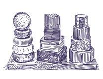 Mano de madera del juguete de la pirámide dibujada foto de archivo libre de regalías