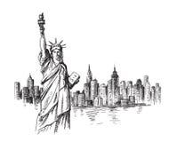 Mano de Nueva York dibujada stock de ilustración