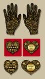 Mano de oro del guante y ornamento decorativo de los corazones Foto de archivo