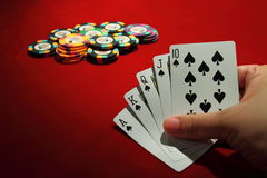 Mano de póker Foto de archivo libre de regalías