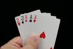 Mano de póker de la casa llena. Fotos de archivo