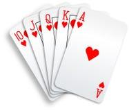 Mano de póker de las tarjetas que juegan del rubor real de los corazones Fotografía de archivo libre de regalías