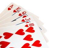 Mano de póker que gana, una escalera real Fotografía de archivo libre de regalías