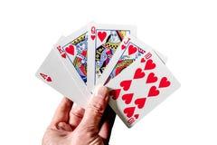 Mano de póker que gana, una escalera real Fotografía de archivo