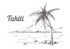 Mano de Tahití del Palm Beach dibujada Ejemplo del vector del bosquejo de Tahití libre illustration