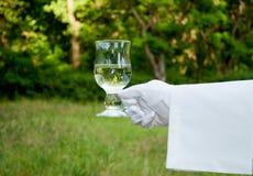 Mano de un camarero en un guante blanco que sostiene un vidrio de agua en el aire abierto Fotos de archivo libres de regalías