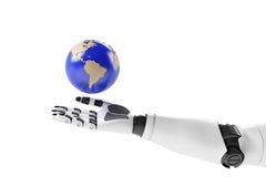 Mano de un robot con tierra Imágenes de archivo libres de regalías