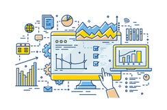Mano del analista que señala en la pantalla de ordenador con resultados del análisis de datos estadísticos en ella, los diagramas stock de ilustración