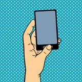 Mano del arte pop con el ejemplo del vector del teléfono Fotos de archivo