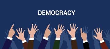 Mano del aumento de la gente de la muchedumbre del concepto del democration de la democracia Imagen de archivo libre de regalías