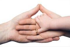 Mano del bambino che giudica le mani dei genitori isolate immagini stock