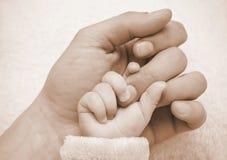 Mano del bebé del asimiento del padre Foto de archivo libre de regalías