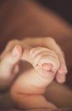 Mano del bebé que sostiene suavemente el finger del adulto Imágenes de archivo libres de regalías