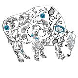 Mano del bisonte dibujada doodle Objeto aislado en blanco Fotos de archivo