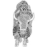 Mano del bisonte dibujada doodle Objeto aislado en blanco Imagen de archivo