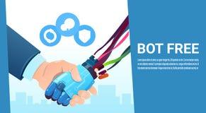 Mano del Bot de la charla que sacude con la ayuda virtual del robot de la gente del sitio web o de las aplicaciones móviles, inte Imagen de archivo