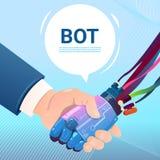 Mano del Bot de la charla que sacude con la ayuda virtual del robot de la gente del sitio web o de las aplicaciones móviles, inte Fotografía de archivo