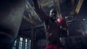 Mano del boxeador sobre fondo negro Concepto de la fuerza, del ataque y del movimiento fotografía de archivo libre de regalías