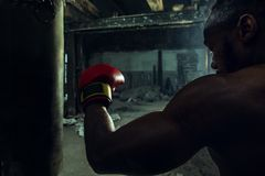 Mano del boxeador sobre fondo negro Concepto de la fuerza, del ataque y del movimiento fotos de archivo libres de regalías