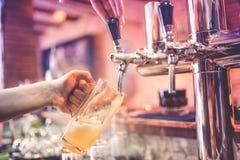 Mano del camarero en el golpecito de la cerveza que vierte una cerveza de cerveza dorada del proyecto en el restaurante, el pub o Fotografía de archivo