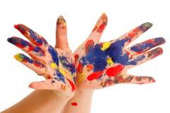 Mano del color del pintor Foto de archivo
