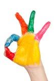 Mano del color que muestra OK foto de archivo libre de regalías