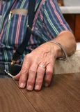 Mano del coltivatore anziano Fotografie Stock Libere da Diritti