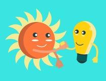 Mano del control de la bombilla con el sol. Fotos de archivo libres de regalías