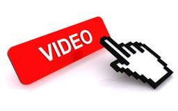 Mano del cursor en el botón video Fotos de archivo