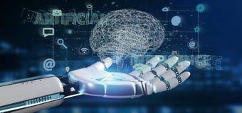 Mano del cyborg che tiene un concpt di intelligenza artificiale con un brai immagine stock