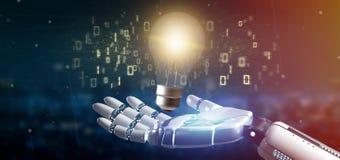 Mano del Cyborg que lleva a cabo un concepto de la idea de la lámpara del bulbo con datos todo el aroun fotografía de archivo