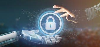 Mano del Cyborg que lleva a cabo un icono de la seguridad de la tecnología en una representación del círculo 3d imagenes de archivo
