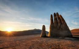 Mano del Desierto, Desert Hand, Chile, Next to Public Highway. Taken in 2015 Stock Image
