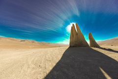 Mano del Desierto. Sculpture of a hand located in the Atacama Desert in Chile. Pan-American Highway. Atacama Desert. Chile. Rainless. Sterile Ground. Largest Stock Image