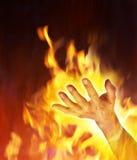 Mano del diavolo nell'inferno Immagini Stock Libere da Diritti