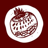 Mano del dibujo la fruta fantástica Ejemplo del granate Fotos de archivo