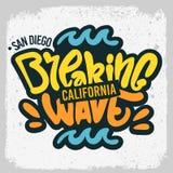 Mano del diseño de la resaca de San que practica surf Diego California United States Usa dibujada poniendo letras al tipo Logo Si ilustración del vector