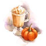 Mano del ejemplo del café de la acuarela del Latte de la calabaza dibujada Imágenes de archivo libres de regalías