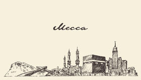 Mano del ejemplo del vector del horizonte de La Meca dibujada