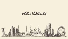 Mano del ejemplo del vintage del horizonte de Abu Dhabi dibujada Foto de archivo