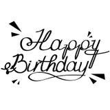 Mano del feliz cumpleaños escrita las letras Ilustración del Vector