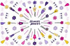 Mano del flower power que pone letras a frase Sistema de garabatos de la flor ilustración del vector