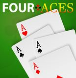 Mano del ganador de cuatro de los as tarjetas del póker Foto de archivo