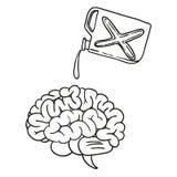 Mano del garabato del cerebro dibujada Imágenes de archivo libres de regalías