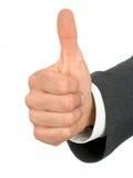 Mano del hombre de negocios con el pulgar para arriba Fotografía de archivo libre de regalías