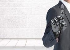 Mano del hombre de negocios del robot de Android que señala con el fondo brillante libre illustration