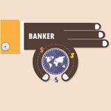 Mano del hombre de negocios o del banquero y pequeño símbolo del mundo en su mano B libre illustration